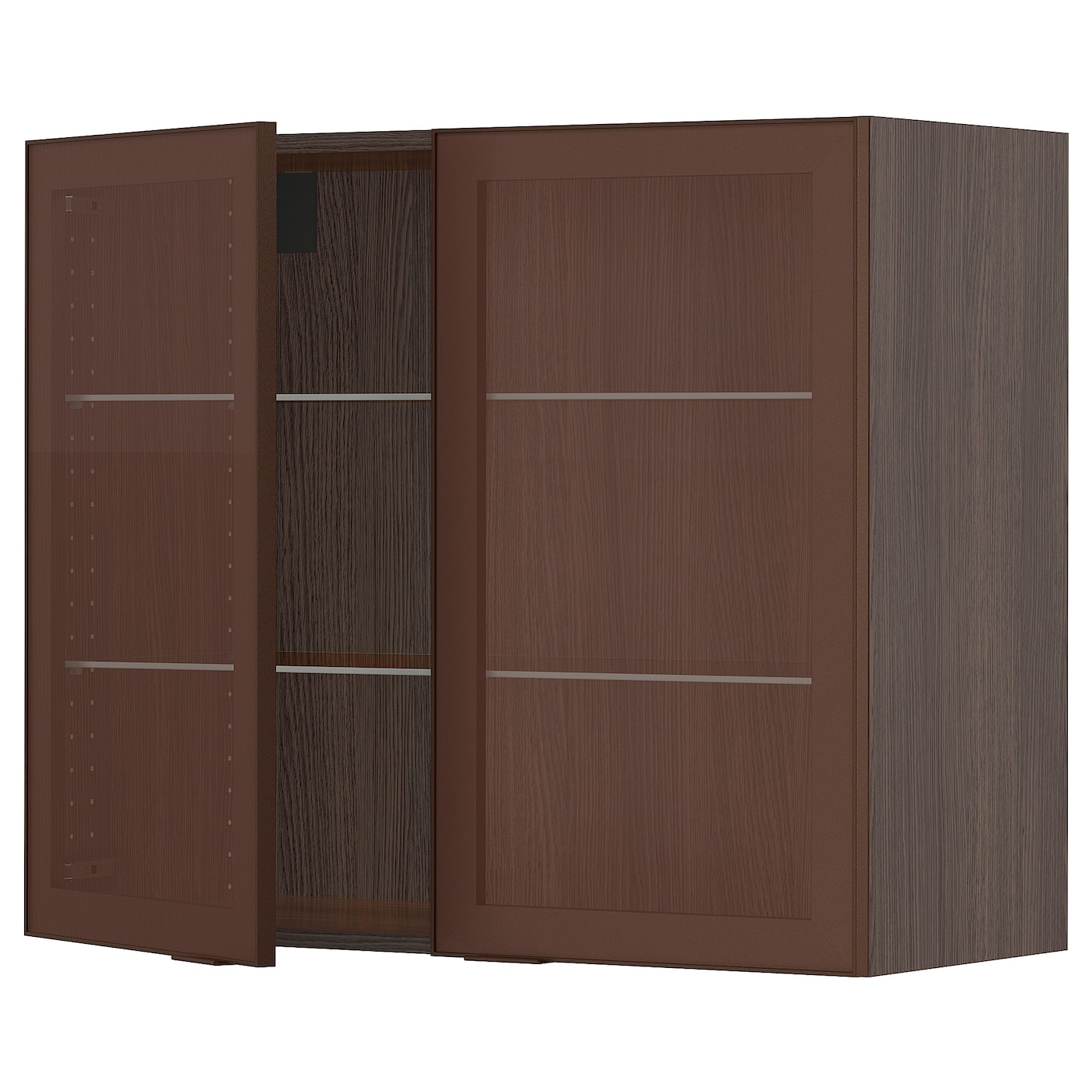 SEKTION Wall cabinet with 2 glass doors - brown, Skövde ...