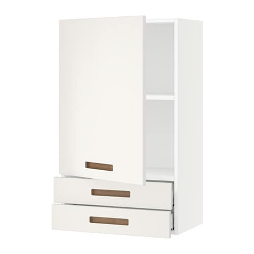 Sektion wall cabinet with door 2 drawers white marsta for Ikea wall cabinet size