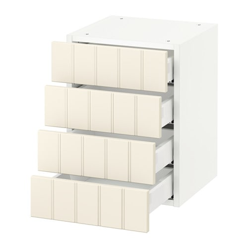 SEKTION Wall cabinet with 4 drawers  white, Hittarp off