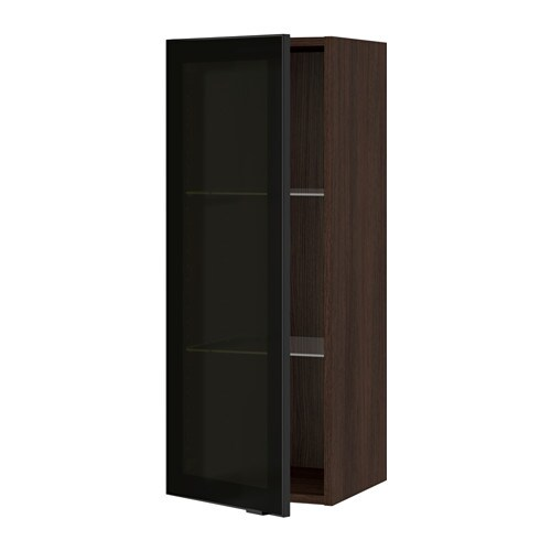 Sektion Wall Cabinet With Glass Door Wood Effect Brown Jutis