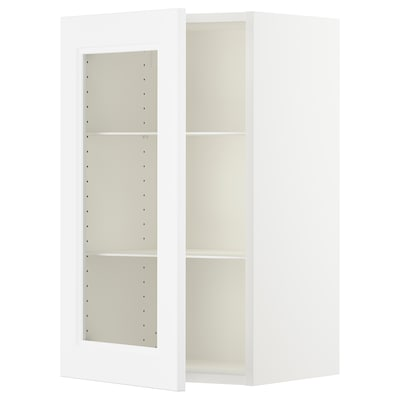 SEKTION Wall cabinet with glass door, white/Axstad matt white, 18x15x30 ""