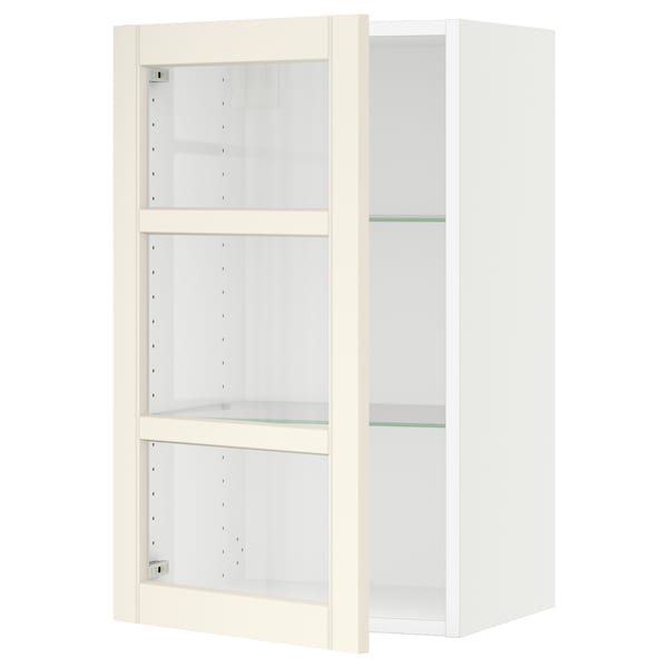 SEKTION Wall cabinet with glass door, white/Hittarp off-white, 18x15x30 ""