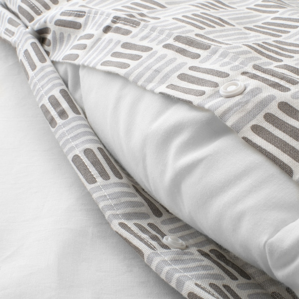"SILVERFRYLE duvet cover and pillowcase(s) white/gray 104 square inches 2 pack 86 "" 102 "" 20 "" 36 """