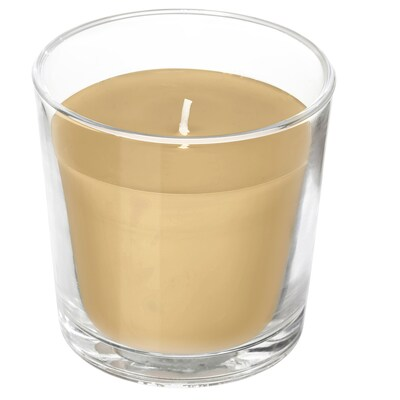 """SINNLIG Scented candle in glass, Campfire marshmallow/light brown, 3 """""""