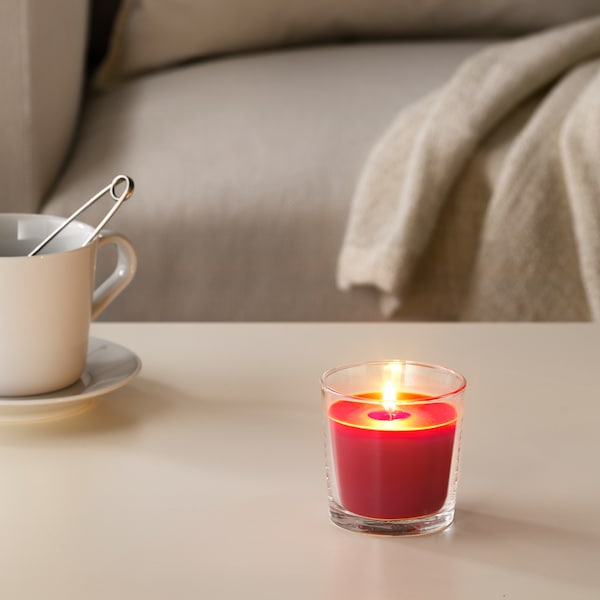 """SINNLIG Scented candle in glass, Red garden berries/red, 3 """""""