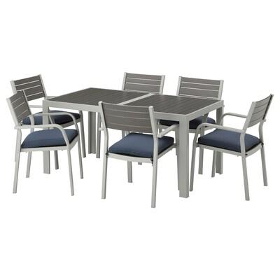 "SJÄLLAND Table+6 armchairs, outdoor, dark gray/Frösön/Duvholmen blue, 61 1/4x35 1/4 """