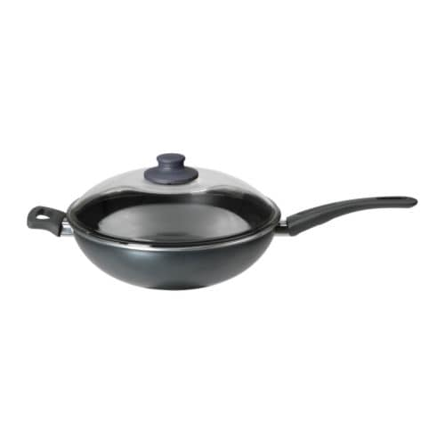 SKÄNKA Wok with lid   The pan has extra thick walls and base, which distribute the heat evenly.