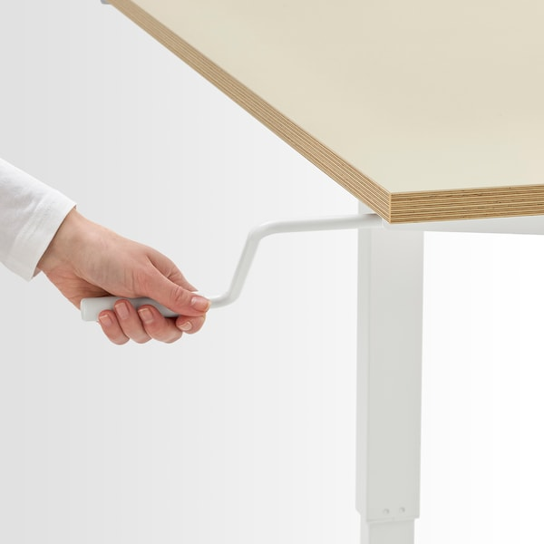 """SKARSTA Desk sit/stand, beige/white, 63x31 1/2 """""""