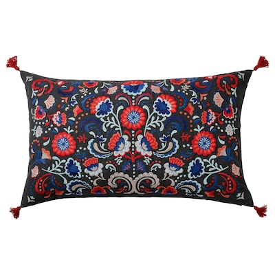SKOGSKORN Cushion, dark gray/multicolor, 16x26 ""