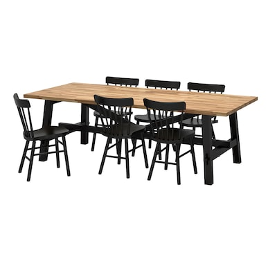 "SKOGSTA / NORRARYD table and 6 chairs acacia/black 92 1/2 "" 39 3/8 "" 29 1/8 """