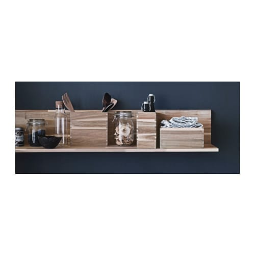 SKOGSTA Wall shelf   Solid wood is a durable natural material.  The shelf becomes one with the wall thanks to the concealed mounting hardware.