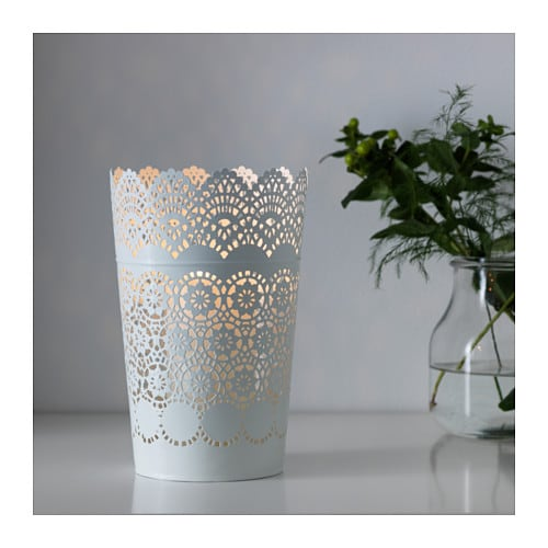 SKURAR Lantern for block candle   The warm light from the candle shines decoratively through the lace pattern on the lantern.