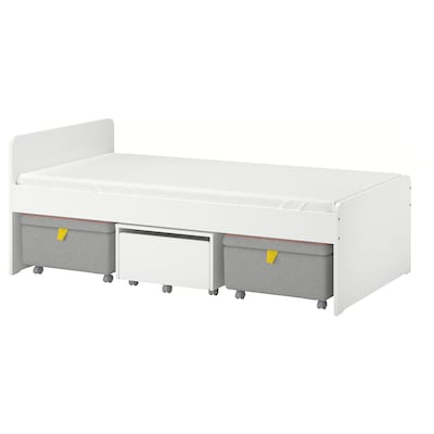 SLÄKT Bed frame with storage + seating, white/gray, Twin