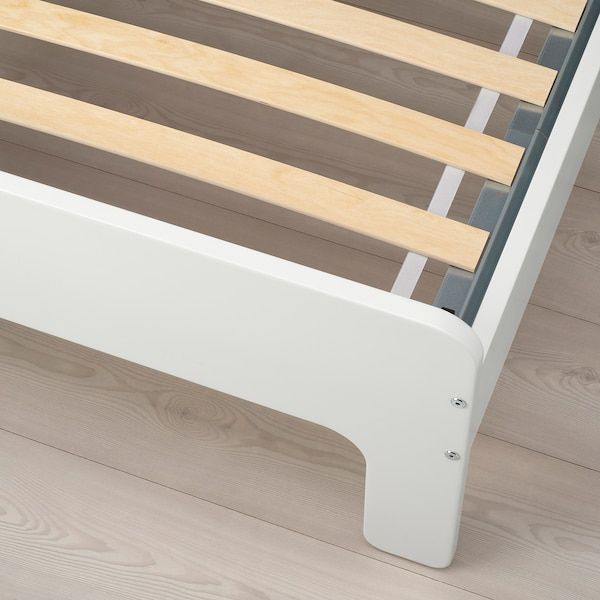 SLÄKT Ext bed frame with slatted bed base, white, 38 1/4x74 3/4 ""