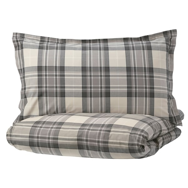 SMALRUTA Duvet cover and pillowcase(s), gray/check, Full/Queen (Double/Queen)