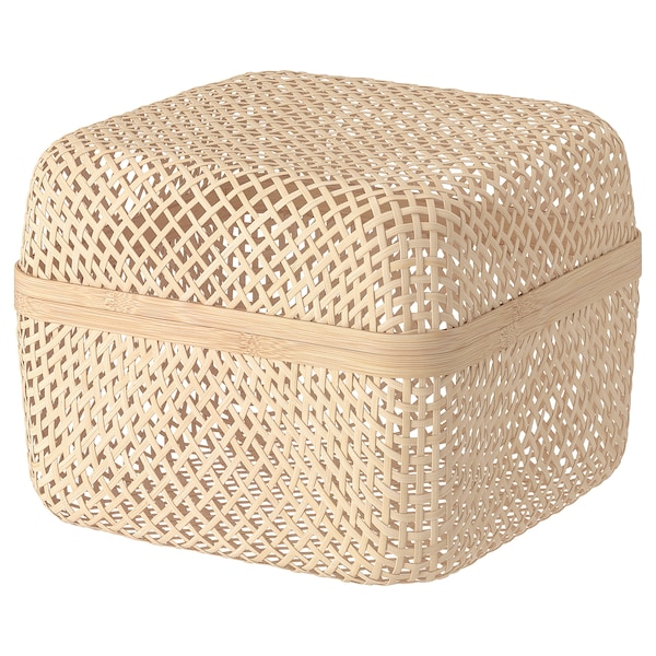 """SMARRA Box with lid, natural, 11 ¾x11 ¾x9 """""""