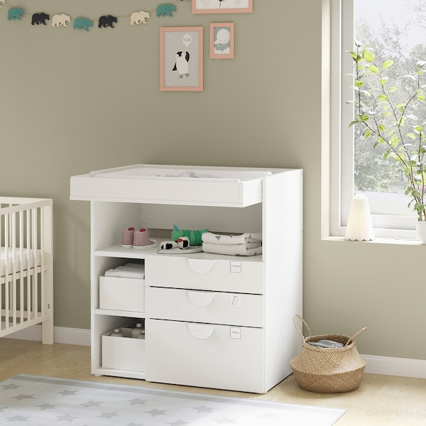 SMÅSTAD Changing table, white green/with 3 drawers, 35 3/8x31 1/2x39 3/8 ""