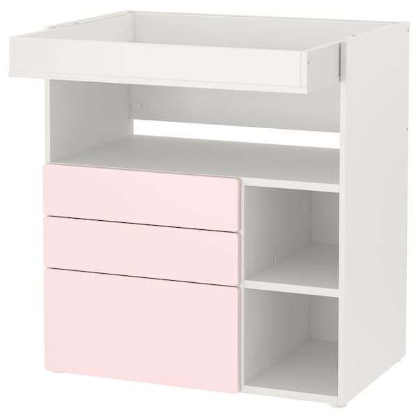 """SMÅSTAD Changing table, white pale pink/with 3 drawers, 35 3/8x31 1/2x39 3/8 """""""
