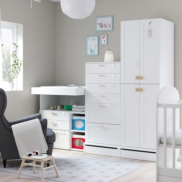 SMÅSTAD / UPPFÖRA Storage combination, white with frame/with changing table, 82 5/8x31 1/2x77 1/8 ""
