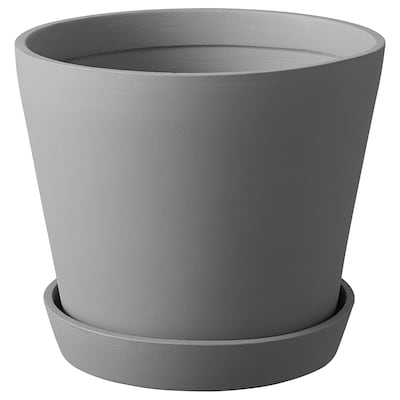 SMULGUBBE Plant pot with saucer, concrete effect/outdoor, 9 ½ ""