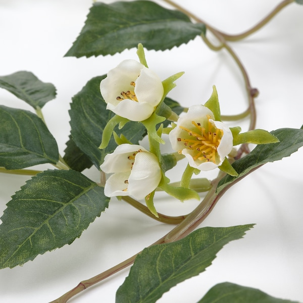 SMYCKA Artificial garland, indoor/outdoor Rose/white, 1 ¾ yard