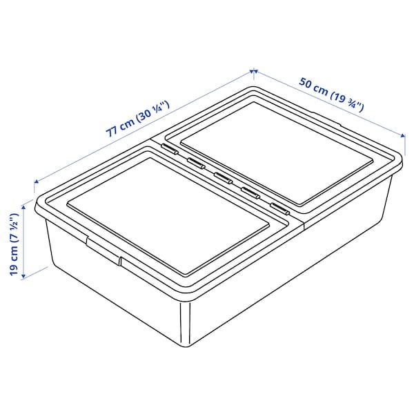 "SOCKERBIT Storage box with lid, white, 19 ¾x30 ¼x7 ½ """