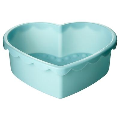 SOCKERKAKA Baking mold, heart-shaped light blue, 1.6 qt