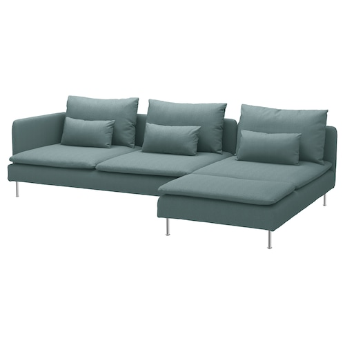 "SÖDERHAMN sectional, 4-seat with chaise and open end/Finnsta turquoise 32 5/8 "" 27 1/8 "" 59 1/2 "" 112 1/4 "" 39 "" 48 "" 5 1/2 "" 2 3/8 "" 27 1/2 "" 15 3/8 """