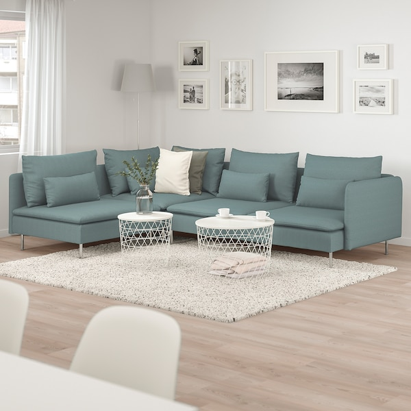 SÖDERHAMN Sectional, 4-seat corner, with open end/Finnsta turquoise