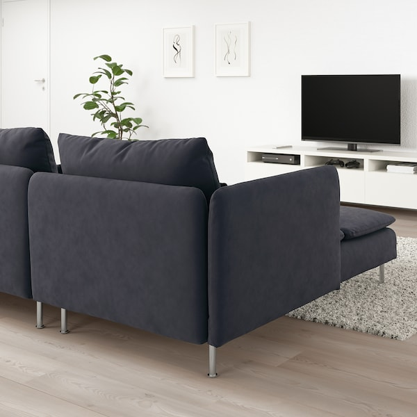 SÖDERHAMN Sofa with chaise, with chaise and open end/Samsta dark gray