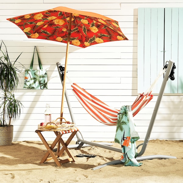 "SOLBLEKT patio umbrella floral pattern orange 84 5/8 "" 72 7/8 "" 1 3/8 """