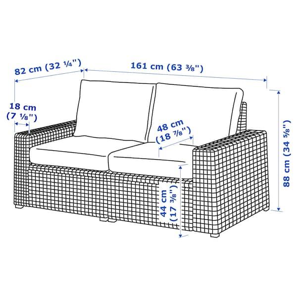 """SOLLERÖN 2-seat modular sofa, outdoor, dark gray/Frösön/Duvholmen dark gray, 63 3/8x32 1/4x34 5/8 """""""