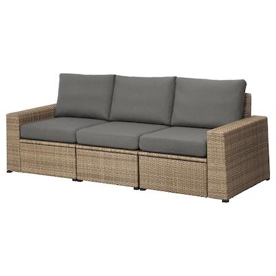 """SOLLERÖN 3-seat modular sofa, outdoor, brown/Frösön/Duvholmen dark gray, 87 3/4x32 1/4x34 5/8 """""""