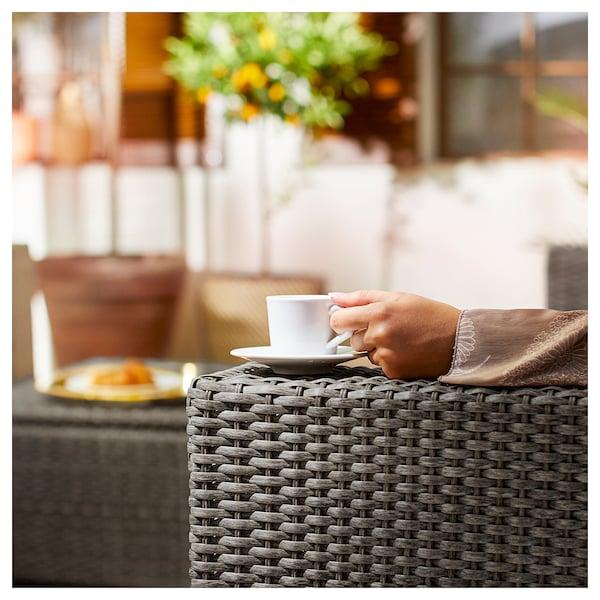 "SOLLERÖN 3-seat modular sofa, outdoor, dark gray/Frösön/Duvholmen blue, 87 3/4x32 1/4x34 5/8 """