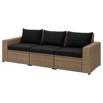 "SOLLERÖN 3-seat modular sofa, outdoor brown/Hållö black 87 3/4 "" 32 1/4 "" 32 1/4 "" 73 5/8 "" 17 3/8 "" 15 3/4 """