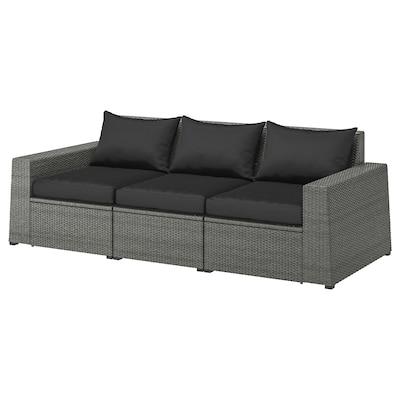 "SOLLERÖN 3-seat modular sofa, outdoor dark gray/Hållö black 87 3/4 "" 32 1/4 "" 31 1/2 "" 73 5/8 "" 18 7/8 "" 15 3/4 """