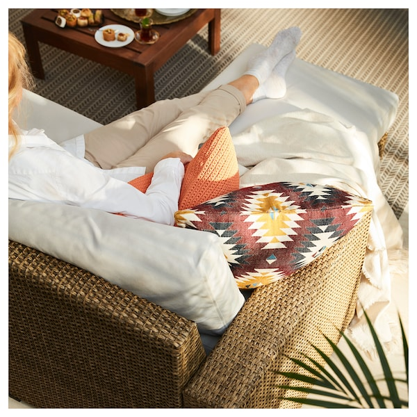 "SOLLERÖN 3-seat modular sofa, outdoor with footstool brown/Frösön/Duvholmen beige 87 3/4 "" 56 3/4 "" 34 5/8 "" 73 5/8 "" 18 7/8 "" 17 3/8 """