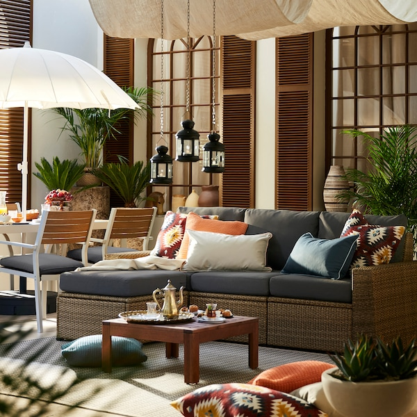 "SOLLERÖN 3-seat modular sofa, outdoor with footstool brown/Frösön/Duvholmen dark gray 87 3/4 "" 56 3/4 "" 34 5/8 "" 73 5/8 "" 18 7/8 "" 17 3/8 """