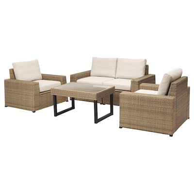 SOLLERÖN 4-seat conversation set, outdoor brown/Frösön/Duvholmen beige