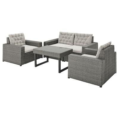 SOLLERÖN 4-seat conversation set, outdoor dark gray/Kuddarna gray