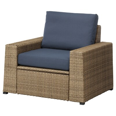 "SOLLERÖN armchair, outdoor brown/Frösön/Duvholmen blue 38 5/8 "" 32 1/4 "" 34 5/8 "" 24 3/8 "" 18 7/8 "" 17 3/8 """