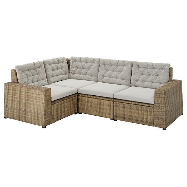SOLLERÖN Modular corner sofa 3-seat, outdoor, brown/Kuddarna gray