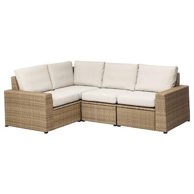 "SOLLERÖN modular corner sofa 3-seat, outdoor brown/Frösön/Duvholmen beige 32 1/4 "" 34 5/8 "" 88 5/8 "" 63 3/4 "" 18 7/8 "" 17 3/8 """