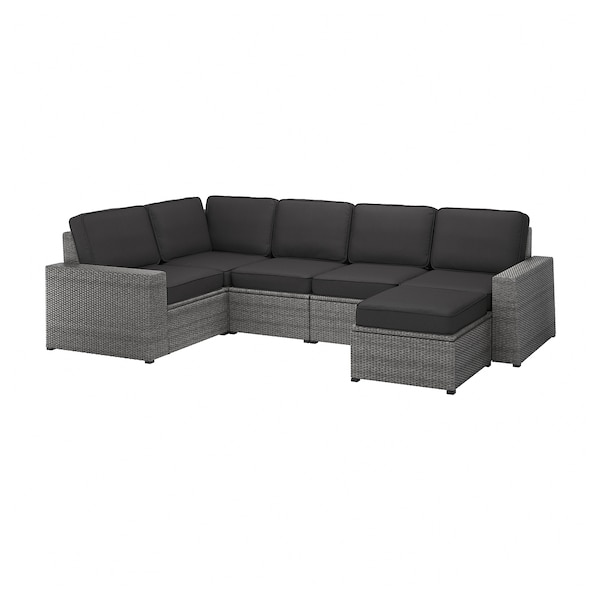 SOLLERÖN Modular corner sofa 4-seat, outdoor, with footstool dark gray/Järpön/Duvholmen anthracite