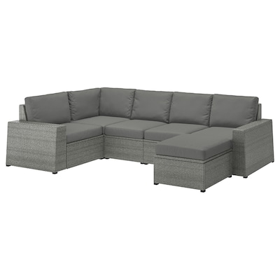 "SOLLERÖN modular corner sofa 4-seat, outdoor with footstool dark gray/Frösön/Duvholmen dark gray 32 1/4 "" 34 5/8 "" 113 "" 63 3/4 "" 3/4 "" 18 7/8 "" 17 3/8 "" 24 3/8 "" 24 3/8 """