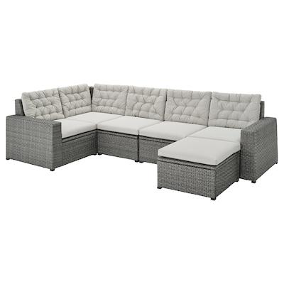 "SOLLERÖN modular corner sofa 4-seat, outdoor with footstool dark gray/Kuddarna gray 32 1/4 "" 33 1/8 "" 113 "" 63 3/4 "" 3/4 "" 22 "" 15 3/4 "" 24 3/8 "" 24 3/8 """