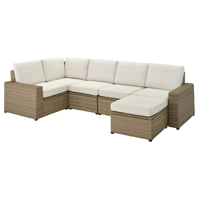 "SOLLERÖN modular corner sofa 4-seat, outdoor with footstool brown/Frösön/Duvholmen beige 32 1/4 "" 34 5/8 "" 113 "" 63 3/4 "" 3/4 "" 18 7/8 "" 17 3/8 "" 24 3/8 "" 24 3/8 """