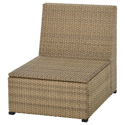 "SOLLERÖN one-seat section, outdoor brown 24 3/8 "" 32 1/4 "" 29 1/8 "" 24 3/8 "" 24 3/8 "" 12 5/8 """