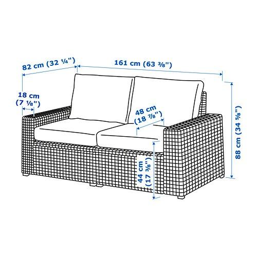Ikea Divani In Rattan.Solleron 2 Seat Modular Sofa Outdoor Brown Froson Duvholmen Beige