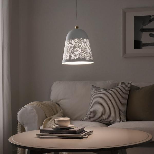 SOLSKUR Pendant lamp, white/brass color